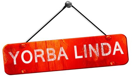 linda: yorba linda, 3D rendering, a red hanging sign Stock Photo