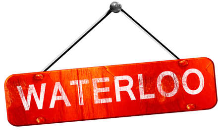 waterloo: waterloo, 3D rendering, a red hanging sign Stock Photo