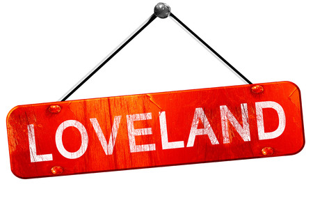 loveland: loveland, 3D rendering, a red hanging sign Stock Photo