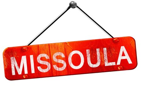 hanging sign: missoula, 3D rendering, a red hanging sign Stock Photo