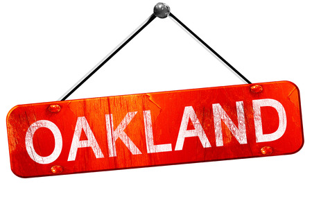 oakland: oakland, 3D rendering, a red hanging sign