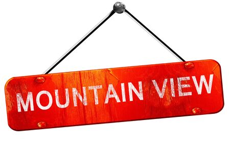 mountain view: mountain view, 3D rendering, a red hanging sign