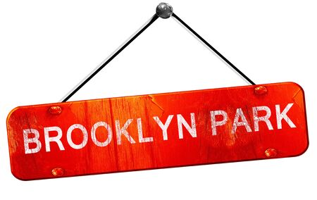 brooklyn: brooklyn park, 3D rendering, a red hanging sign