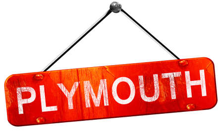plymouth: plymouth, 3D rendering, a red hanging sign Stock Photo
