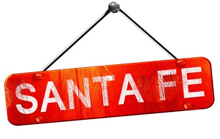 fe: santa fe, 3D rendering, a red hanging sign Stock Photo