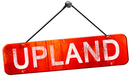 upland, 3D rendering, a red hanging sign Stock Photo