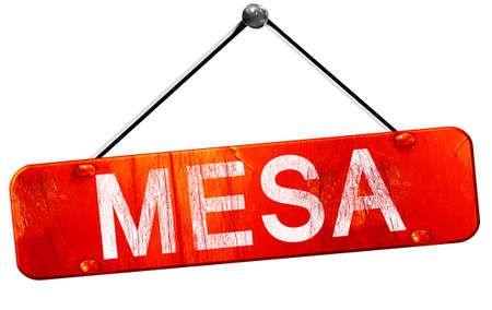 hanging sign: mesa, 3D rendering, a red hanging sign