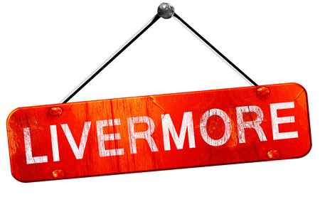 livermore: livermore, 3D rendering, a red hanging sign