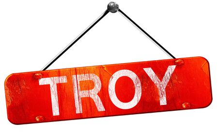 troy: troy, 3D rendering, a red hanging sign Stock Photo