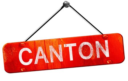 canton: canton, 3D rendering, a red hanging sign Stock Photo