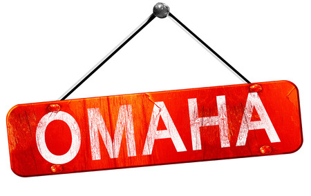omaha: omaha, 3D rendering, a red hanging sign
