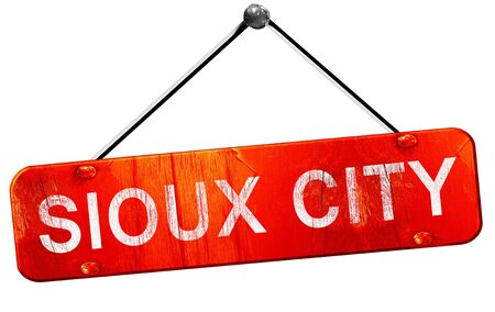 sioux: sioux city, 3D rendering, a red hanging sign