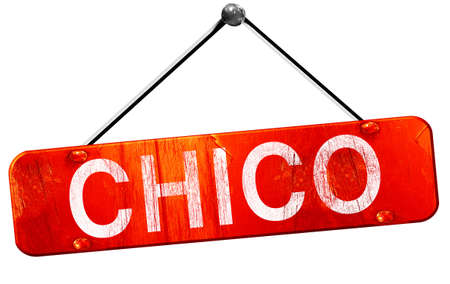 chico, 3D rendering, a red hanging sign Stock Photo