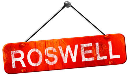 roswell: roswell, 3D rendering, a red hanging sign Stock Photo