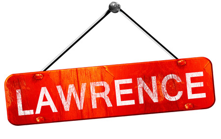 lawrence: lawrence, 3D rendering, a red hanging sign Stock Photo