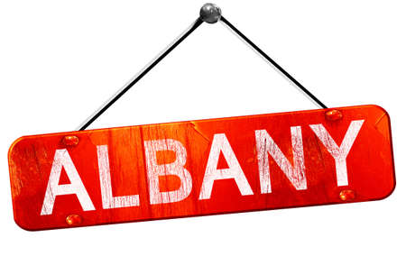 albany: albany, 3D rendering, a red hanging sign Stock Photo