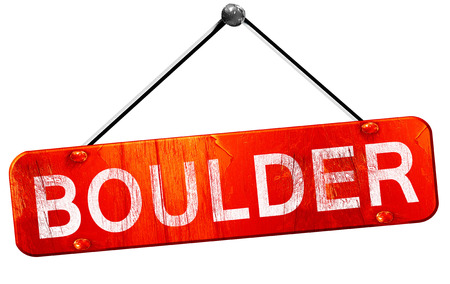 boulder: boulder, 3D rendering, a red hanging sign
