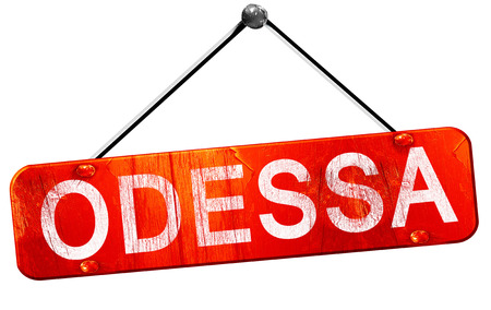 odessa: odessa, 3D rendering, a red hanging sign Stock Photo
