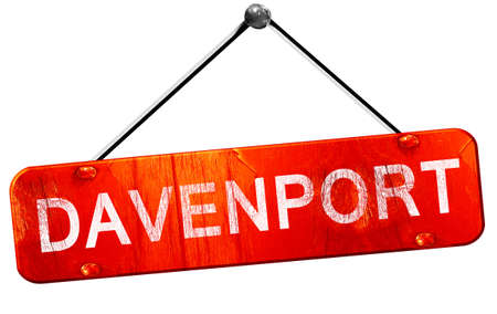 davenport: davenport, 3D rendering, a red hanging sign