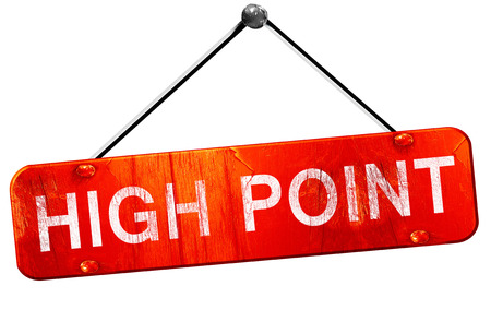 red point: high point, 3D rendering, a red hanging sign Stock Photo