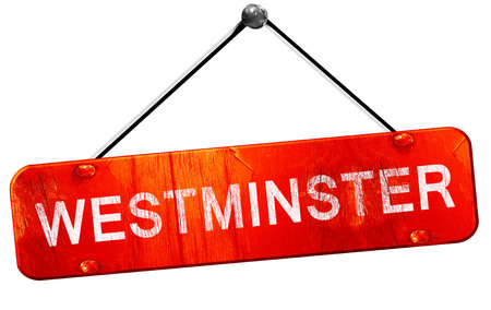 hanging sign: westminster, 3D rendering, a red hanging sign