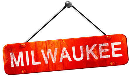 milwaukee: milwaukee, 3D rendering, a red hanging sign Stock Photo