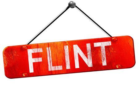 flint: flint, 3D rendering, a red hanging sign