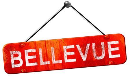 bellevue: bellevue, 3D rendering, a red hanging sign
