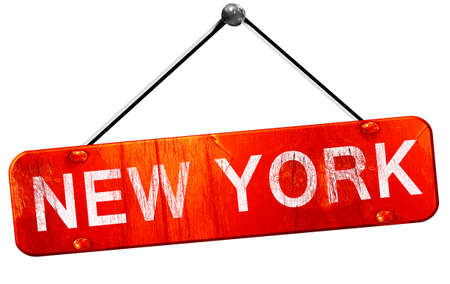 old new york: new york, 3D rendering, a red hanging sign