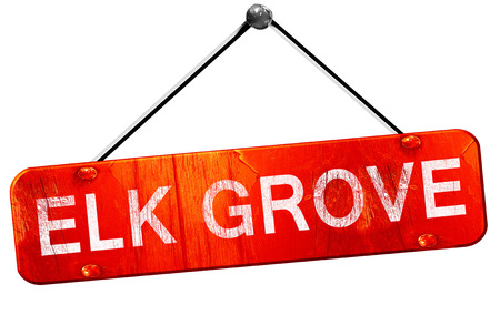 grove: elk grove, 3D rendering, a red hanging sign