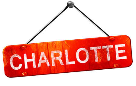 charlotte: charlotte, 3D rendering, a red hanging sign