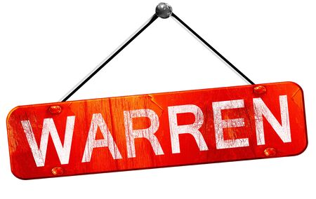 warren: warren, 3D rendering, a red hanging sign