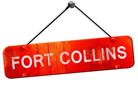 collins: fort collins, 3D rendering, a red hanging sign