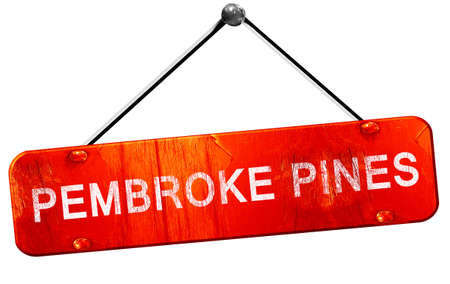 pembroke: pembroke pines, 3D rendering, a red hanging sign Stock Photo