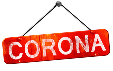 corona: corona, 3D rendering, a red hanging sign Stock Photo