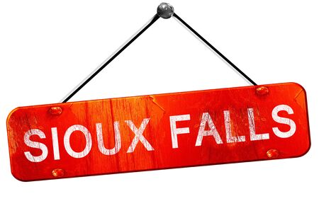 sioux: sioux falls, 3D rendering, a red hanging sign