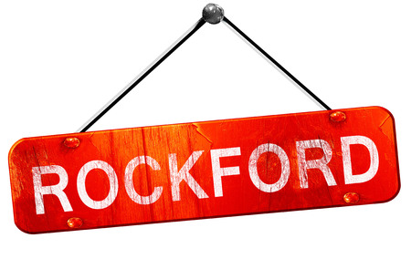 hanging sign: rockford, 3D rendering, a red hanging sign Stock Photo