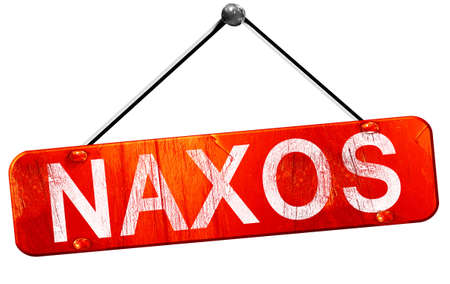 naxos: Naxos, 3D rendering, a red hanging sign