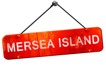 Mersea island, 3D rendering, a red hanging sign
