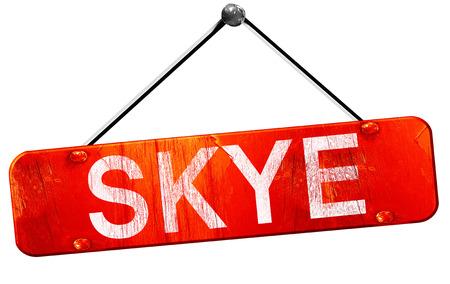 skye: Skye, 3D rendering, a red hanging sign