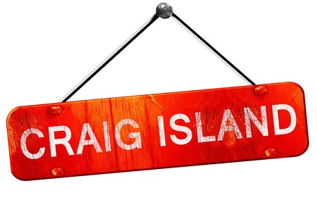 craig: Craig island, 3D rendering, a red hanging sign Stock Photo