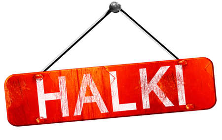 halki: Halki, 3D rendering, a red hanging sign