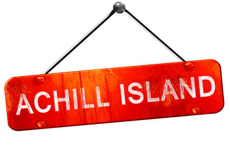 achill: Achill island, 3D rendering, a red hanging sign