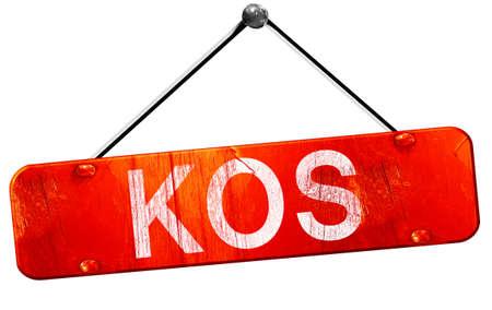 kos: Kos, 3D rendering, a red hanging sign