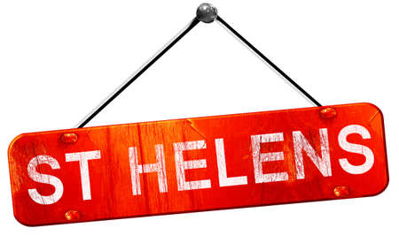helens: St helens, 3D rendering, a red hanging sign Stock Photo