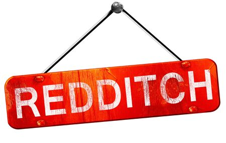 redditch: Redditch, 3D rendering, a red hanging sign Stock Photo