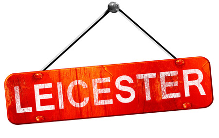 leicester: Leicester, 3D rendering, a red hanging sign