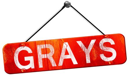 grays: Grays, 3D rendering, a red hanging sign Stock Photo