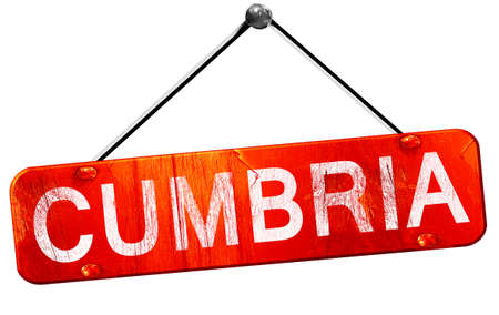 cumbria: Cumbria, 3D rendering, a red hanging sign