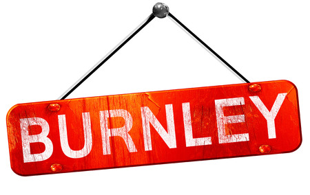 burnley: Burnley, 3D rendering, a red hanging sign